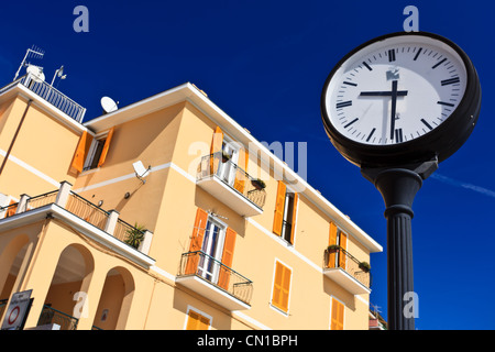 Looking up on a residential complex at 9.30 in the morning, Monterosso, Italy - Stock Photo