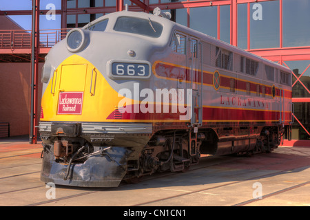 EMC F3 diesel locomotive in Lackawanna livery at the Steamtown National Historic Site in Scranton, Pennsylvania. - Stock Photo