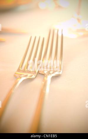 Golden Forks - Stock Photo