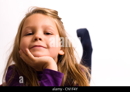 Young pretty five year old girl - happy & confident - Stock Photo