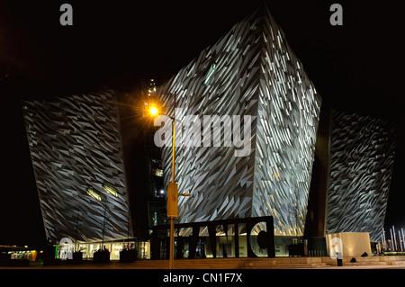 Titanic Signature Building at night - Stock Photo