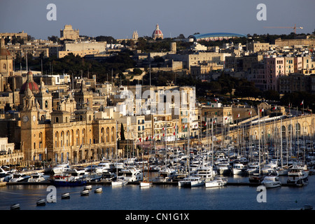 The Grand Harbour looking towards Vittoriosa in Valletta, Malta - Stock Photo