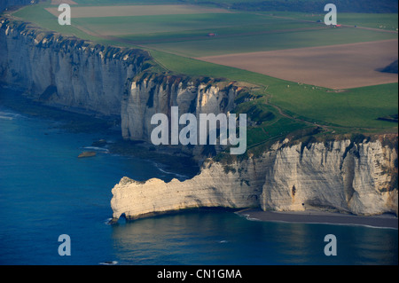 France, Seine Maritime, Cote d'Albatre (Alabaster Coast), Etretat, the falaise d'Amont (Amont Cliff) (aerial view) - Stock Photo