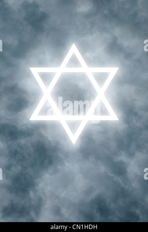 Glowing Star of David among dark clouds - Stock Photo