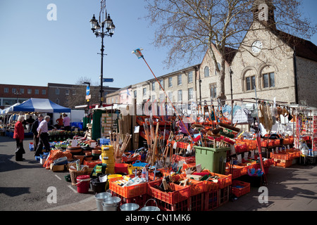 The weekly market in the town centre, Bury St Edmunds Suffolk East Anglia UK - Stock Photo