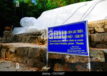 49 metre long reclining Buddha statue. Ta Cu Mountain, Binh Thuan Province, Vietnam, Asia - Stock Photo