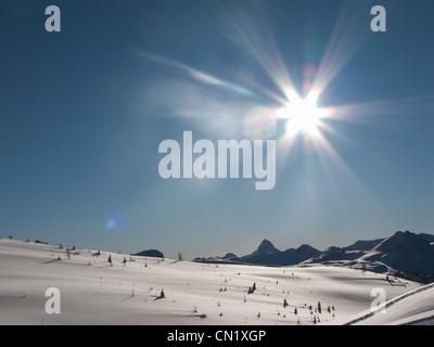 Mountain snow scene, Banff, Canada - Stock Photo