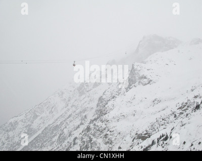 Cable car over French Alps, Chamonix, France - Stock Photo