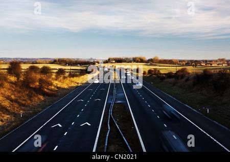 Cars on motorway, Northeast England, UK - Stock Photo