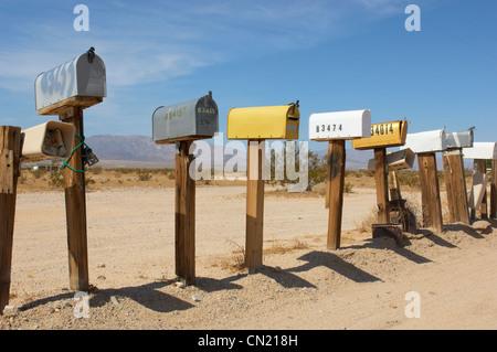 Mailboxes, Mojave Desert, California, USA - Stock Photo