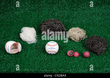 Deconstruction of a major league baseball made by Rawlings. - Stock Photo