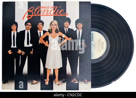American New Wave punk rock band BLONDIE classic vinyl album and cover PARALLEL LINES released 1978 on CHRYSALIS - Stock Photo