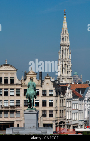 Belgium, Brussels, Mont des Arts, Mountain of the Arts, City Hall Tower - Stock Photo