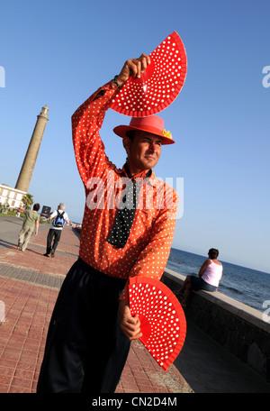 Flamenco dancer, entertainer, Gran Canaria, Maspalomas lighthouse, Gran Canaria, Canary Islands - Stock Photo