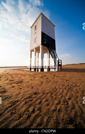 The unusual lighthouse on stilts at Burnham-on-Sea, Somerset, England, UK - Stock Photo