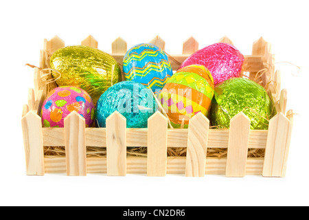 Box of easter eggs on a white background - Stock Photo