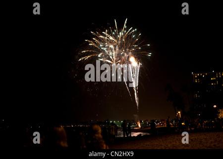 Firework display at night - Stock Photo