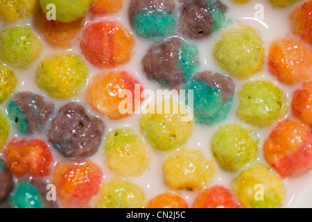 Colorful breakfast cereal, close up - Stock Photo