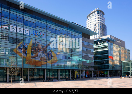 BBC building Quay House in Media City UK, Salford Quays, Salford - Stock Photo
