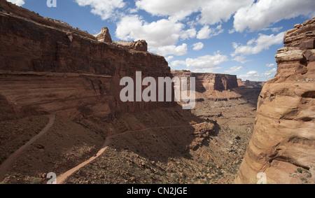 Winding Road Through Canyon, Canyonlands National Park, Moab, Utah, USA - Stock Photo