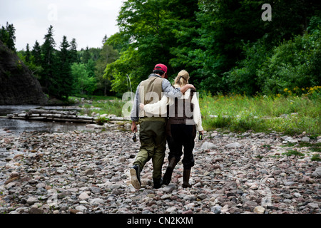 Fisher couple at  Margaree River, Cape Breton Island, Nova Scotia - Stock Photo