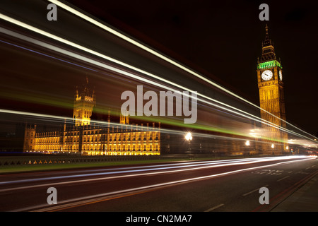 Light trails and Palace of Westminster,London, UK
