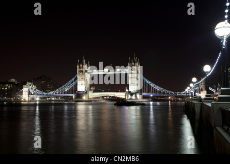 Tower Bridge over River Thames, London, UK - Stock Photo