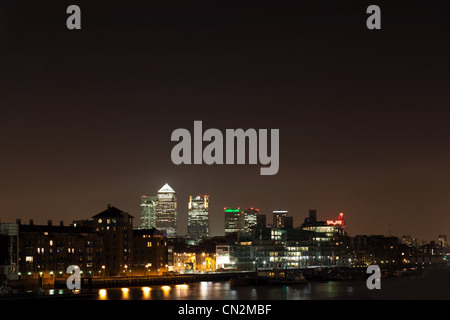View over Thames towards Canary Wharf, London, UK - Stock Photo
