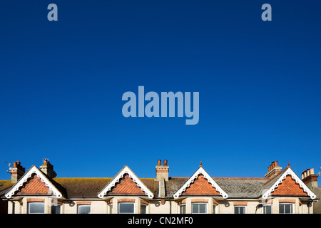Street of houses and blue sky - Stock Photo