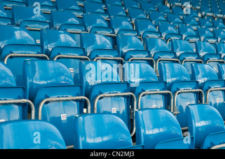 Blue seats in stadium - Stock Photo