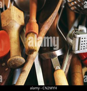 Kitchen utensils, close up - Stock Photo