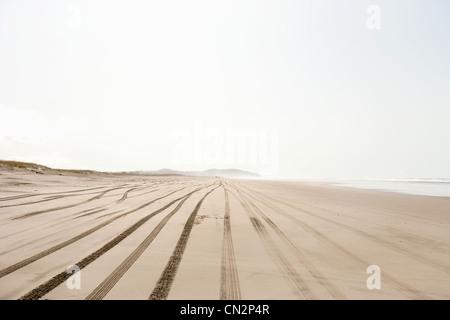 Boy on sandy beach with tire tracks - Stock Photo
