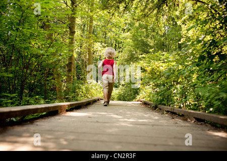 Young boy walking along wooden walkway in forest - Stock Photo
