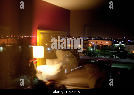 Hotel room at night - Stock Photo