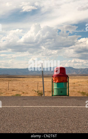 Trash can at side of highway, Utah, USA - Stock Photo