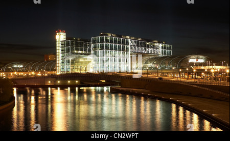 Central Station and River Spree at night, Berlin, Germany - Stock Photo