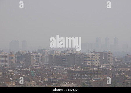 Thick smog over Cairo Egypt- Which is one of the most polluted cities in the world - Stock Photo