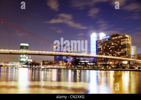River Main at night, Frankfurt, Germany - Stock Photo