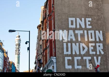 Graffiti on wall, London, England - Stock Photo