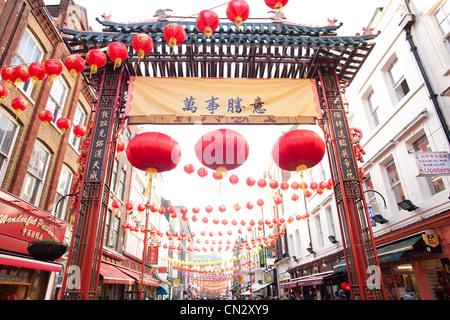 Chinese New Year, China Town, London - Stock Photo