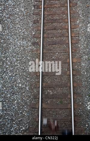 Train tracks from above - Stock Photo