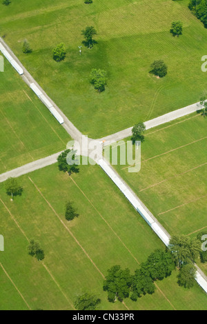 Aerial view of fields, Indiana, USA - Stock Photo