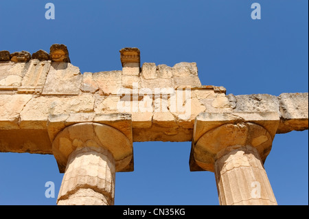 Cyrene. Libya. Close up view of ancient Greek inscription on the front architrave of the Temple of Zeus. - Stock Photo