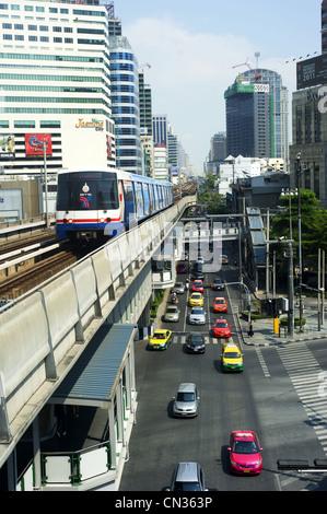 BTS Skytrain in Bangkok. - Stock Photo