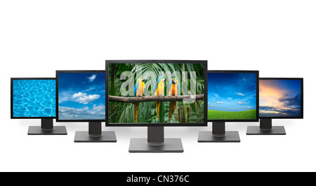 Group of flat screens HDTV TV with nature images on screen - Stock Photo