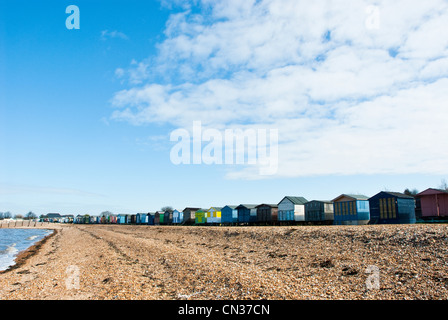 Beach huts in a row, Whitstable, Kent, England, UK - Stock Photo