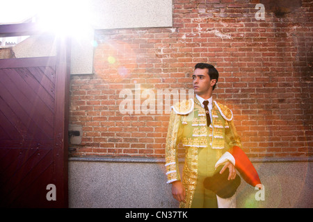 Bullfighter wearing traditional clothing at opening ceremony, Las Ventas bullring, Madrid - Stock Photo