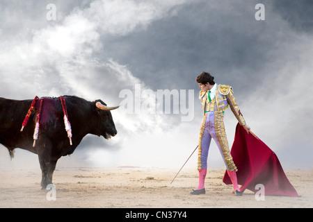 Bullfighter holding red cape with bull, Las Ventas bullring, Madrid - Stock Photo