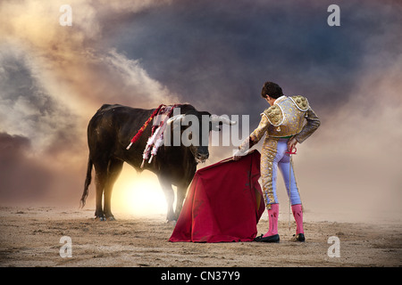 Bullfighter holding red cape with bull, Las Ventas bullring, Madrid - Stock Photo