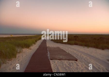 Boardwalk on a beach, Long Beach, New York, USA - Stock Photo